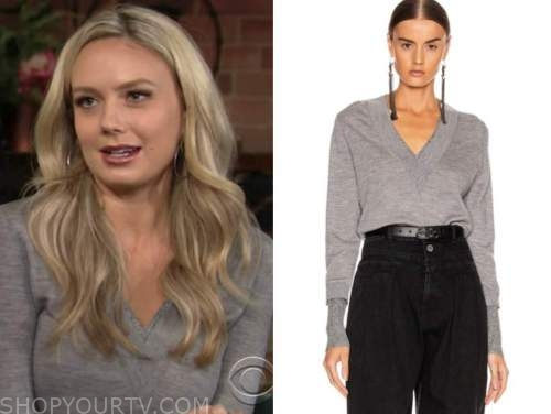 abby newman, melissa ordway, the young and the restless, grey v-neck sweater