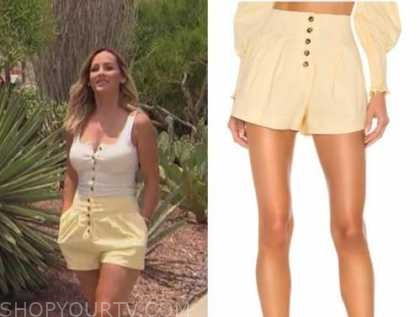 clare crawley, the bachelorette, yellow button down shorts