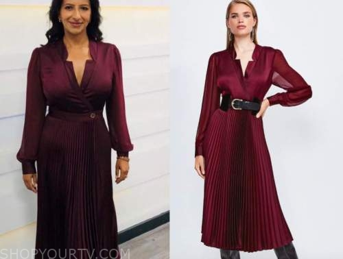 ranvir singh, good morning britain, burgundy pleated midi dress