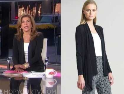 hoda kotb, the today show, black drape cardigan sweater