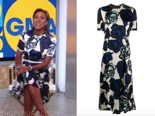 robin roberts, good morning america, blue floral dress
