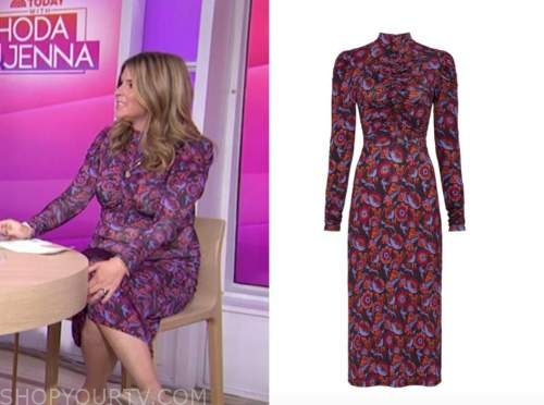 jenna bush hager, the today show, floral ruched mock neck midi dress