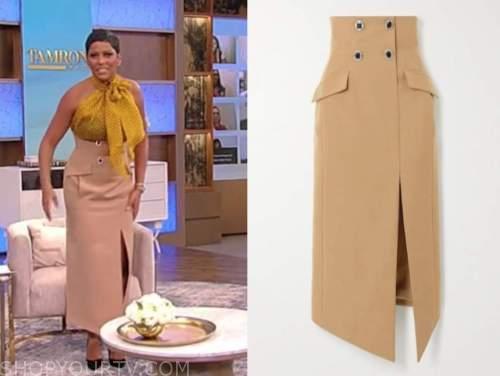 tamron hall, tamron hall show, beige khaki pencil skirt