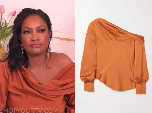 garcelle beauvais, the real, orange satin drape blouse
