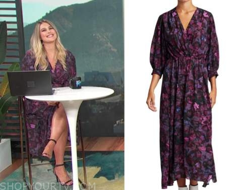 carissa culiner, purple floral midi dress, E! news, daily pop