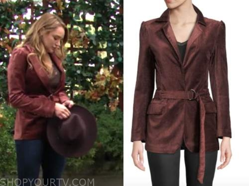 summer newman, hunter king, the young and the restless, rust velvet blazer