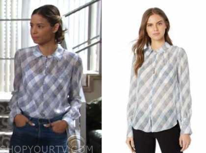 elena dawson, the young and the restless, plaid blouse, brytni sarpy
