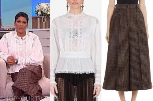 tamron hall, tamron hall show, white lace blouse, wool check cropped pants