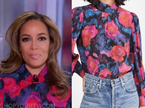 sunny hostin, the view, floral mock neck blouse