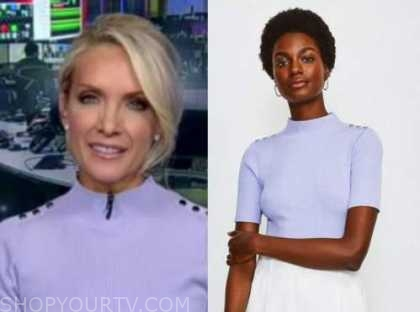 dana perino, the five, the daily briefing, blue purple mock neck button shoulder knit top