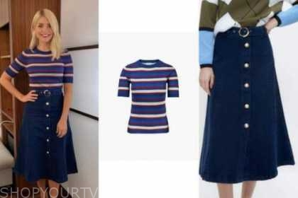 holly willoughby, this morning, blue striped knit top, denim button midi skirt