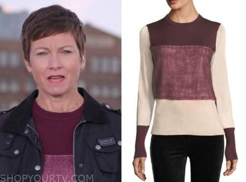 stephanie gosk, burgundy colorblock sweater, the today show