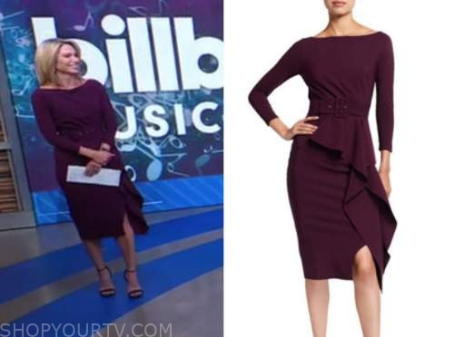 amy robach, good morning america, burgundy boatneck belted dress
