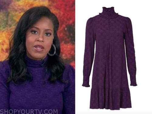 sheinelle jones, the today show, purple textured turtleneck shift dress