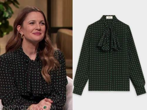 drew barrymore, drew barrymore show, black and green polka dot tie neck blouse