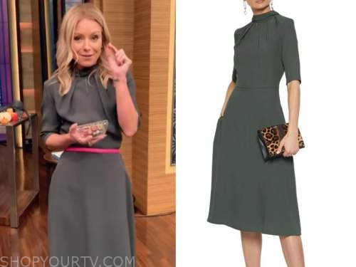kelly ripa, live with kelly and ryan, olive green keyhole dress, pink belt