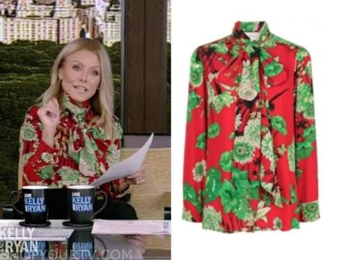 kelly ripa, red and green floral tie neck blouse, live with kelly and ryan