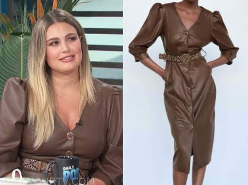 carissa culiner, brown leather dress, E! news, daily pop