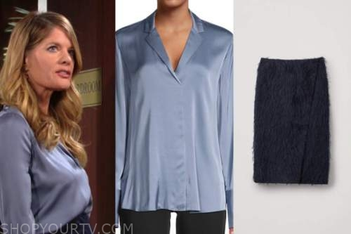 michelle stafford, phyllis newman, the young and the restless, blue satin blouse, feather skirt,