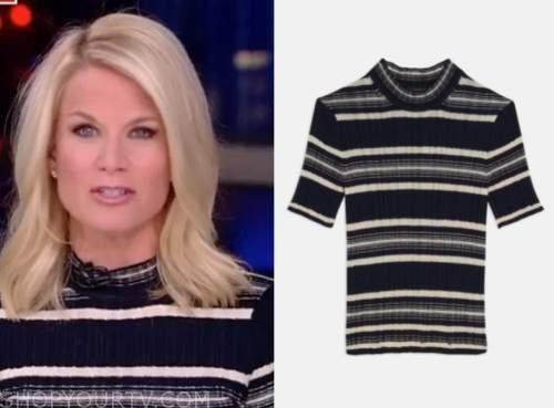 martha maccallum, the story, navy striped knit top