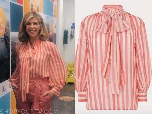 kate garraway, good morning britain, pink striped tie neck blouse