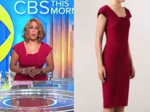 gayle king, cbs this morning, red square neck sheath dress