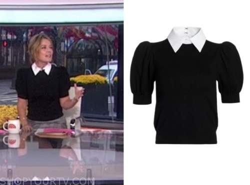 savannah guthrie, the today show, black puff sleeve collar sweater