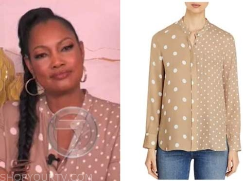 garcelle beauvais, the real, beige polka dot blouse
