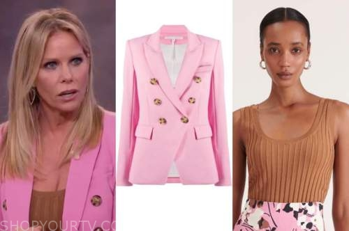 cheryl hines, the kelly clarkson show, pink blazer, brown top
