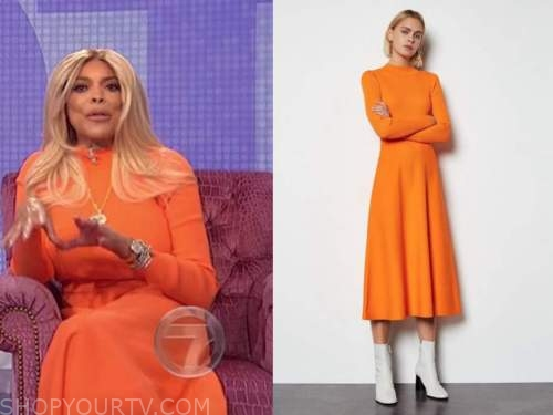 wendy williams, the wendy williams show, orange knit midi dress