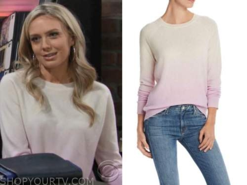 abby newman, melissa ordway, the young and the restless, dip dye sweater