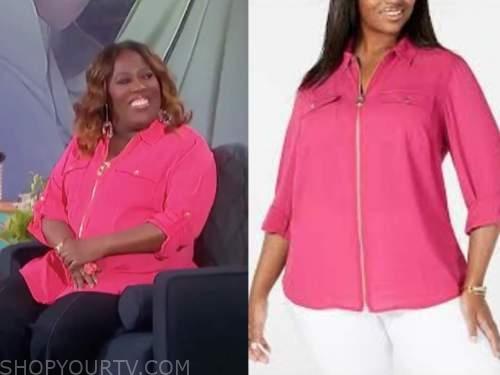 sheryl underwood, the talk, hot pink zip-front top