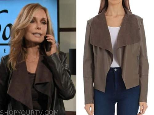 lauren fenmore baldwin, the young and the restless, tracey bregman, brown leather drape jacket