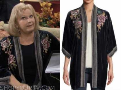 beth maitland, the young and the restless, traci abbott, blue velvet floral jacket, dina's final episode
