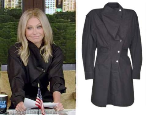 kelly ripa, grey drape dress, live with kelly and ryan