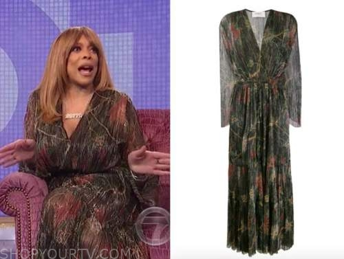 wendy williams, the wendy williams show, floral pleated metallic maxi dress