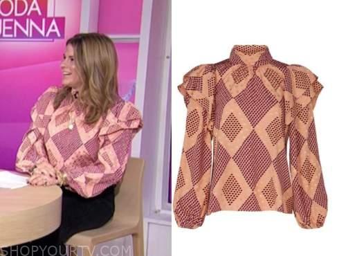 jenna bush hager, the today show, geometric ruffle blouse