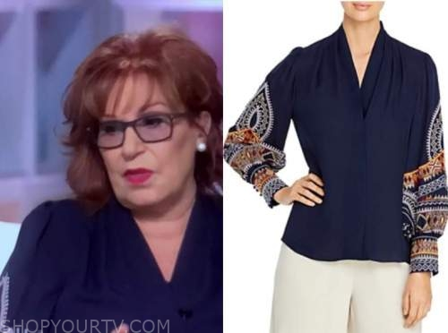 joy behar, the view, navy embroidered sleeve blouse