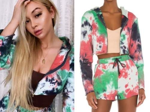 corinne olympios, tie dye cropped hoodie and shorts, the bachelor
