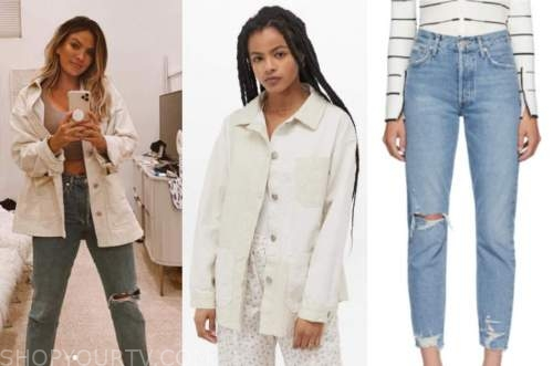becca tilley, the bachelor, ivory jacket, ripped jeans