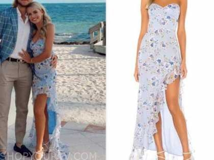 emily ferguson, the bachelor, blue floral strapless gown