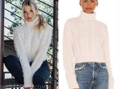 haley ferguson, the bachelor, ivory cable knit turtleneck sweater
