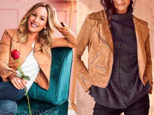 the bachelorette, clare crawley, tan suede moto jacket