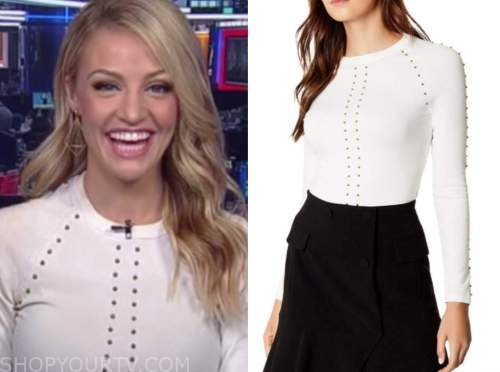carley shimkus, fox and friends, ivory studded sweater