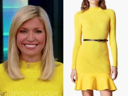 ainsley earhardt, fox and friends, yellow knit belted dress