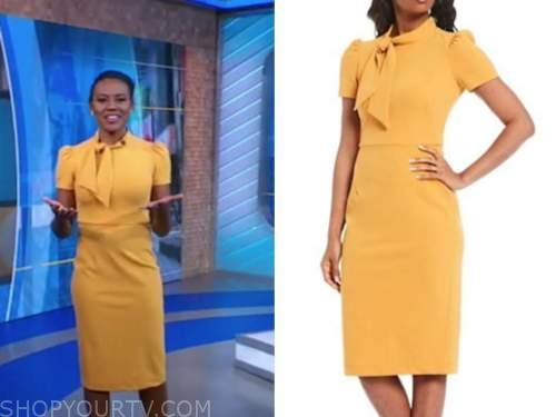 janai norman, good morning america, yellow tie neck sheath dress