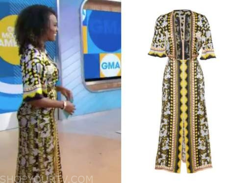 janai norman, yellow printed maxi dress, good morning america