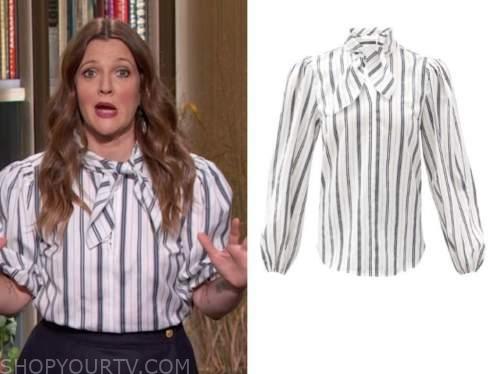 drew barrymore show, drew barrymore, white striped tie neck blouse