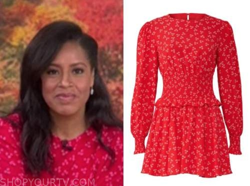 sheinelle jones, the today show, red printed dress