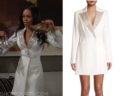 mishael morgan, the young and the restless, white sequin blazer dress